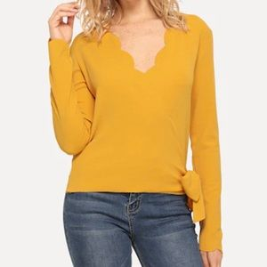 Scalloped Side Knot Textured Wrap Blouse